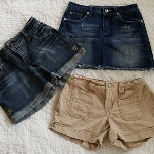 Girls shorts and skirt set